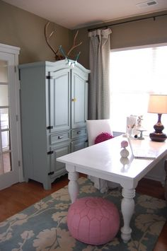 more office, painted spanish pine armiore $75 with anthro knobs, window mistreatments, thrifted lamp paint: village square