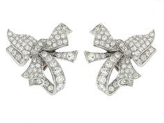 Diamond Bow Earrings in Platinum