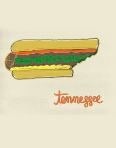 "Tennessee imagined as a half-eaten hot dog from the ""United Plates"" series by artist John Holcomb.    Visit www.shorthandedst... for more United Plates, and www.discoverameri... for travel ideas in Tennessee!  © John Holcomb"