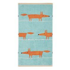 Mr Fox Towel Aqua & Tangerine Guest Towel - £10