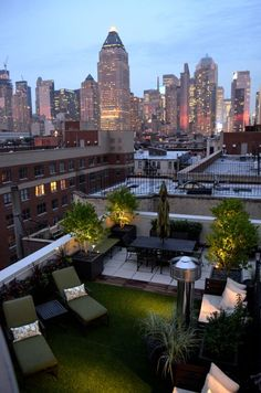 10 lawn rooftop garden with a couple of potted plants - Shelterness