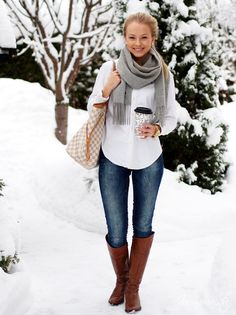 I have the bag, boots, shirt and jeans for this look. Need a grey scarf.