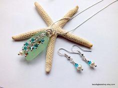 Lake Erie Beachglass Pendant and Earrings by beachglassshop, $45.00