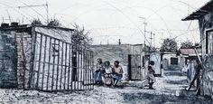 An original work by Phillemon Hlungwani entitled: Ku Hava Xoxi Endla Hande Ka Ku hlevana (Alex) II (Those who gossip have nothing better to do than gossip) etching and watercolour 82 x 141cm For more please visit www.finearts.co.za Fine Art Gallery, Gossip, Watercolour, Africa, Street View, Artists, The Originals, Creative, Pen And Wash