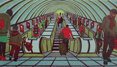 Any Given Saturday - a linocut print by Gail Brodholt