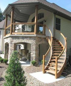 Landscaping And Outdoor Building , Exterior Stair Design Ideas : Wooden Exterior Stair Design
