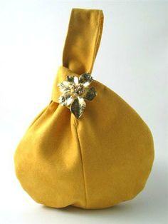 Freesia Yellow - Pantone 2014 - wristlet bag yellow purse clutch handbag by daphnenen
