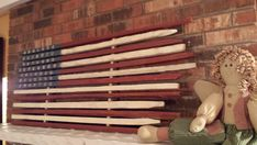 American Flag Made With Tobacco Sticks. Painted on both sides and rollable for easy storage.