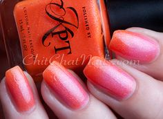 "KPT – Do You Wanna Fanta? | ChitChatNails..""A vibrant orange tangerine and a watermelon pink color changing nail polish. This polish is packed with gold and violet purple shimmers for that added sparkle."".. thermal polish."