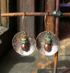 Textured Copper and Sterling Silver Dome earrings by kmaylward, $26.00