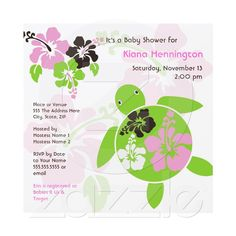 Sweet Hawaiian Honu Baby Shower Invite - Square from Zazzle.com