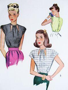 1940s FILM NOIR Style Blouse Pattern McCALL 6256 Peek A Boo Cutout Neckline, 2 Sleeve Styles Bust 34 Vintage Sewing Pattern UNCUT