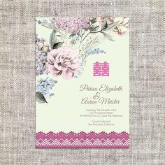 DIY Printable/Editable Chinese Wedding Invitation Card by ImLeaf Chinese Wedding Invitation Card, Wedding Invitation Card Template, Wedding Invitations, Invitation Ideas, Background Diy, Wedding Cards, Floral, Printable, Etsy