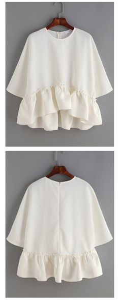 White Round Neck Ruffle Dip Hem Blouse  is suitable for each woman, and it is very cute, casual and young. m.shein.com