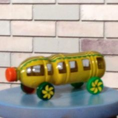 Plastic bottle craft. Yellow bus car toy.  #bottle #craft #plastic #yellow