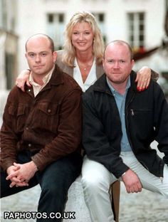 July 1997: EastEnders cast members Grant Mitchell (Ross Kemp), Kathy Mitchell (Gillian Taylforth), and Phil Mitchell (Steve McFadden)
