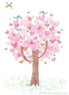 Fingerprint love heart tree art----need to so do this with my grandchildren!
