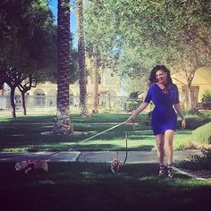 "Early morning walk with these 2 crazies before a shoot! Looks like I'm the crazy 1 in 6"" heels in my courtyard. Ummmm slippers where are you?! Happy productive Monday IG 's #livecooklove #actress #homechef #sexychef #chihuahua #chihuahuasofinstagram #6inchheels #blue #vegas #courtyard #myhome #shooting #photoshoot #christinevienna #actresslife #atlanta #sag #aftra #bluedress #curves #cooking #recipe #l4l #mypups #goodmorning #imready #getit #itsmine"