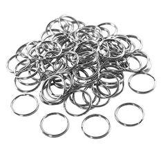 "1"" (25mm) Nickel Plated Silver Steel Round Edged Split Circular Keychain Ring Clips for Car Home Keys Organization, Arts"
