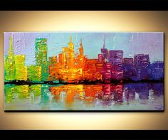 Colorful Cityscape  Original abstract art paintings by Osnat - city painting colorful textured NYC city skyline