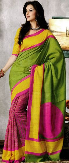 Printed Art Silk Saree in Olive Green and Pink