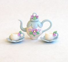 Miniature Blue Scallops & Petite Blossom Tea Set