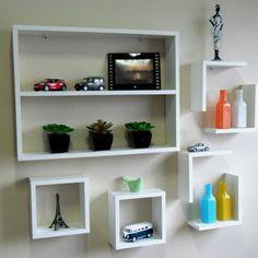 Diy Bookshelf Plans, Bookshelf Room Divider, Bookshelf Design, White Shelves, Floating Shelves, Creative Bookshelves, Apartment Office, Creative Architecture, Room Decor