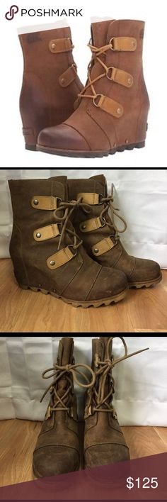 "Sorel Joan of Arctic Wedge Booties Adorable leather and waterproof booties in ""elk"" color in great condition! A few scuffs but still have a lot of life left! Approx 3"" heel. Perfect for all seasons! Fit true to size. Sorel Shoes Winter & Rain Boots"