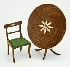 Miniature Oval Star Tilt-Top Dining Table and chair in 1/12 scale.