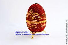 """Купить Набор для вязания бисером """"Пасхальное яйцо """"Рубиновый ларец"""""""" - бисерное яйцо, яйцо из бисера"""
