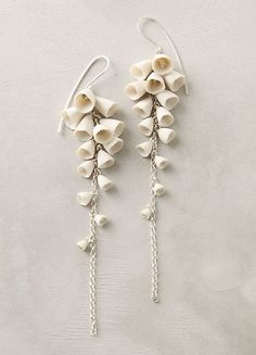 Lily of the Valley earrings  in porcelain by Ruth Tomlinson. Could I do something inspired by this in PC?  yes, yes I can.