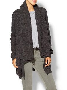 Thml Clothing Textured Wrap Sweater - Charcoal