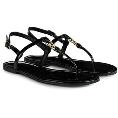 Cole Haan Ally Sandal ($50) ❤ liked on Polyvore featuring shoes, sandals, flats, sapatos, flat sandals, black patent, black patent sandals, black patent leather sandals, black patent leather flats and metallic flat sandals