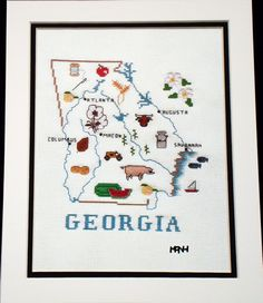 GEORGIA CROSS STITCH MAP REPLICA. $9.95, via Etsy.