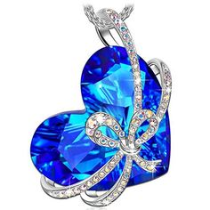 QIANSE Christmas Gifts Necklace Heart of Ocean Bowtie White Gold Plated Pendant Necklace Swarovski Crystal Jewelry for Women Birthday Gifts for Women Girlfriend Wife Daughter Anniversary Gifts for Her -- Visit the image link more details.-It is an affiliate link to Amazon. #Necklace