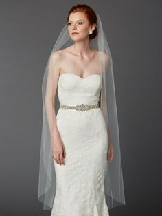 "Our Semi Waltz or Ballet length 52"" L x 72"" w bridal veil falls close to the body to blend trending style with a 1920's vintage-inspired sllhouette by wedding accessories and gifts specialists http://destinationweddingboutique.com #weddingveil Find it at http://destinationweddingboutique.com/Ballet-or-Semi-Waltz-Single-Layer-Cut-Edge-Wedding-Veil?search=Ballet%20or%20Semi%20Waltz%20Single%20Layer%20Cut%20Edge%20Wedding%20Veil"