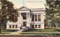 Paris, IL - Carnegie Library - Early Postcard.