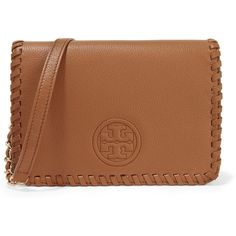 Tory Burch Marion whipstitched textured-leather shoulder bag ($420) ❤ liked on Polyvore featuring bags, handbags, shoulder bags, clutches, brown, shoulder bag handbag, brown purse, brown shoulder bag, shoulder bag purse and shoulder handbags