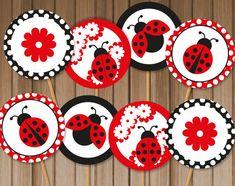Ladybug Printable Cupcake Toppers Instant by ThumbAlinaLane, $6.00