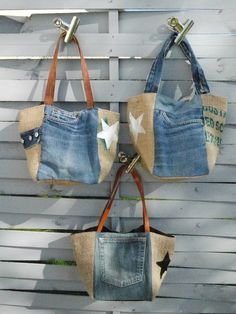 Bucket bag from denim jeans