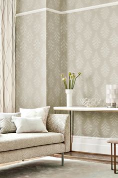 New Neutrals: Harlequin launches 7 muted wallpapers for blissfully tranquil interiors Simple Living Room Decor, Living Room Modern, My Living Room, Living Room Designs, Living Room Wallpaper Neutral, Living Room Flooring, Interior Ideas, Interior Design, Wallpaper Ideas