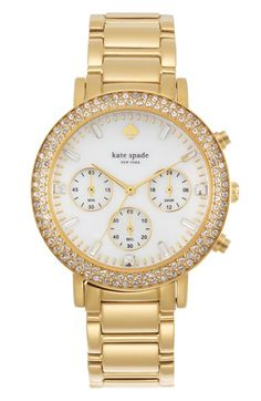 Free shipping and returns on kate spade new york 'gramercy grand' crystal bezel multifunction bracelet watch, 38mm at Nordstrom.com. Shimmering crystals illuminate the bezel of a beautiful bracelet watch further detailed with clear, faceted indexes and a trio of subdials on the clean white dial.
