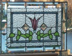 Beveled Victorian Style Stained Glass Panel Window Pink Flower: