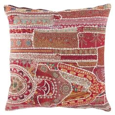 John Robshaw Textiles - Indian Patched Beaded 670 - Souk Pillows - souk