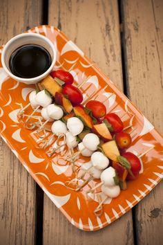 Peach Caprese Skewers + Balsamic Vinegar via one of our FAVORITE blogs!