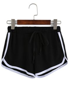 Shop Contrast Draw Cord Waist Black Shorts online. SheIn offers Contrast Draw Cord Waist Black Shorts & more to fit your fashionable needs.