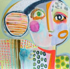 "Saatchi Art Artist wyanne thompson; Colorful Postrait Painting, ""Once Upon A Time I Wore A Scarf"" #art"