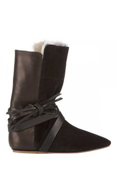 dc0e25bd17871 Isabel Marant Nira Suede And Leather Ankle Fur Boots Black - Isabel Marant   isabelmarant