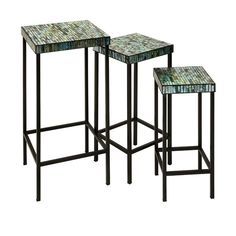 Set of three Aramis Mosaic Glass Tables as seen in the REA Awards winning Visual Display by Absolutely Fabulous! Page 60 of Gifts and Decorative Accessories August issue.