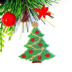 Bead Embroidery Jewelry For You or Someone by SplendidBeadsBklyn Peyote Stitch Patterns, Beading Patterns Free, Seed Bead Patterns, Tree Patterns, Beading Tutorials, Christmas Tree Beads, Christmas Tree Pattern, Christmas Fairy, Christmas Earrings